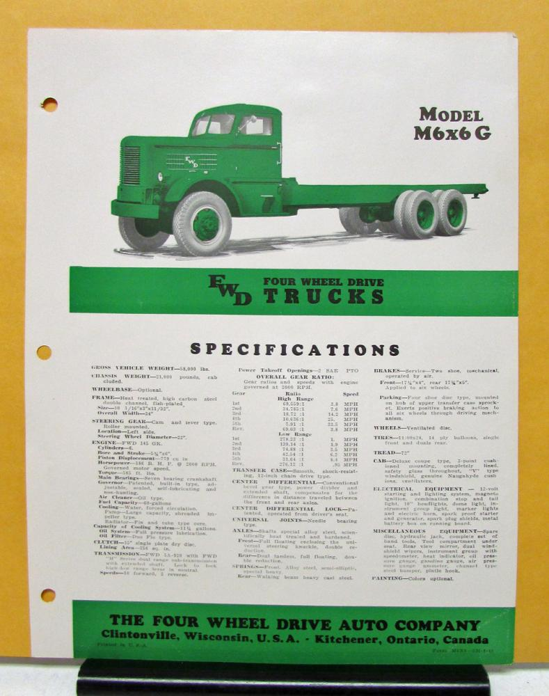 1948 FWD Truck Model M6x6 G Specification Sheet