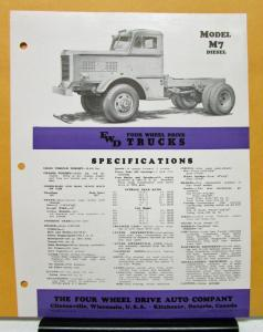 1948 FWD Truck Model M7 Diesel Specification Sheet