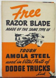 1939 Dodge Trucks Amola Steel Free Razor Blade Sales Folder Original RARE