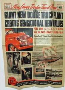 1939 Dodg Trucks Three Ton & Smaller Newpaper Style Sales Folder Original