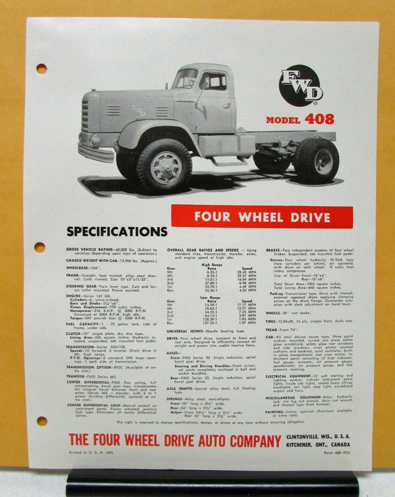 1955 1956 FWD Truck Model 408 Specification Sheet