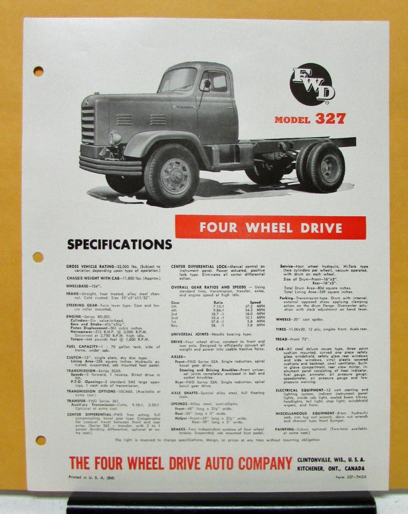 1956 1957 FWD Truck Model 327 Specification Sheet
