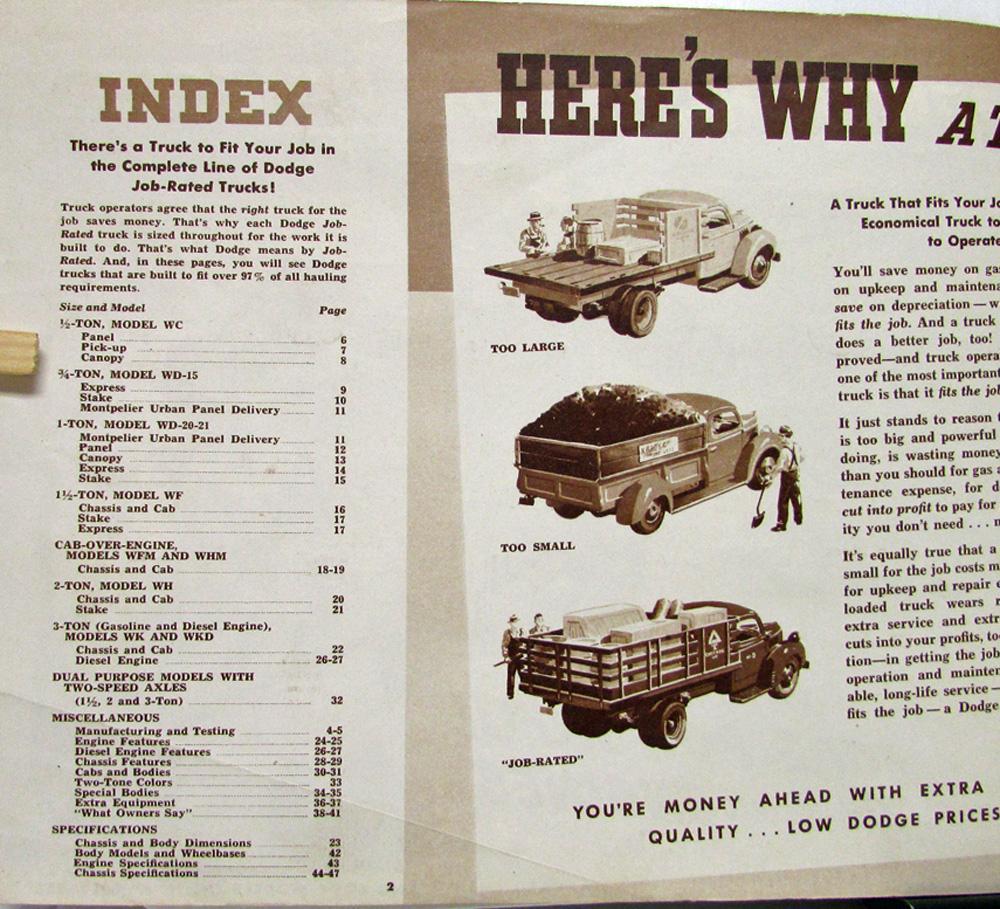 1942 Dodge Trucks One Half To 3 Ton Heavy Duty Diesel Sales Coe Truck Brochure Original