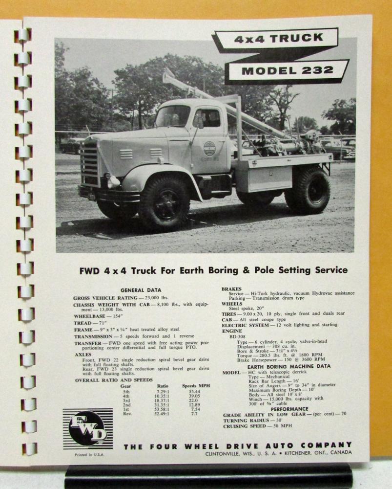 1956 1957 FWD Truck Model 150 232 284 285 750 407 329 327 181 233 606