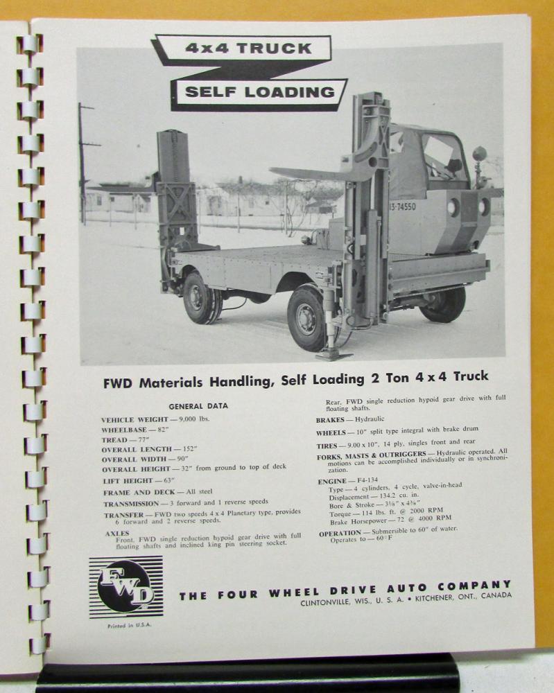 1957 FWD Truck Model 150 232 284 285 750 407 329 327 181 233 606 ...