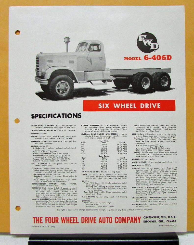 1964 1965 FWD Truck Model 6 406D Six Wheel Drive Specification Sheet