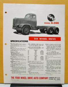 1963 1964 1965 FWD Truck Model 6 366 Six Wheel Drive Specification Sheet