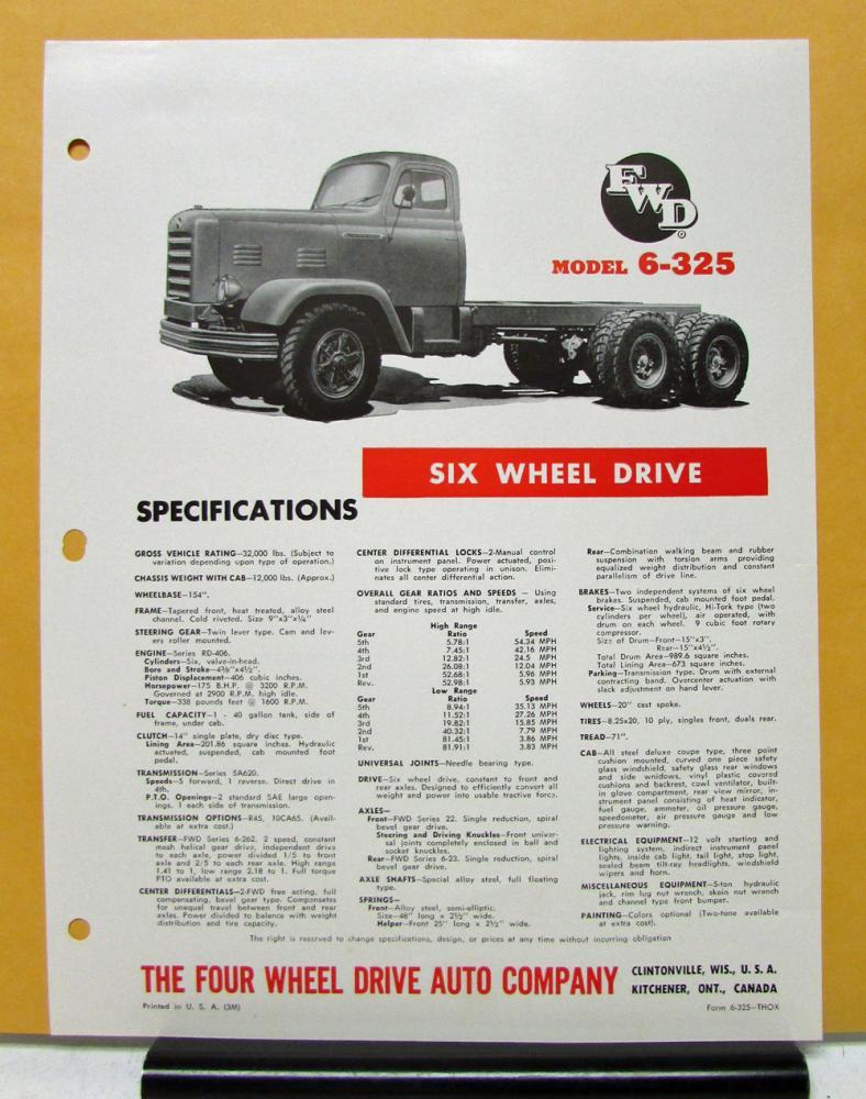 1964 1965 FWD Truck Model 6 325 Six Wheel Drive Specification Sheet