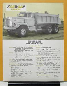 1968 1969 FWD Truck Model B5 2116 6x4 Mixer Dumper Specification Sheet