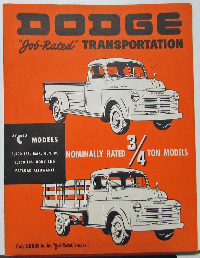 1950 Dodge C Models Three Fouths Ton Truck Pickup Stake Sales