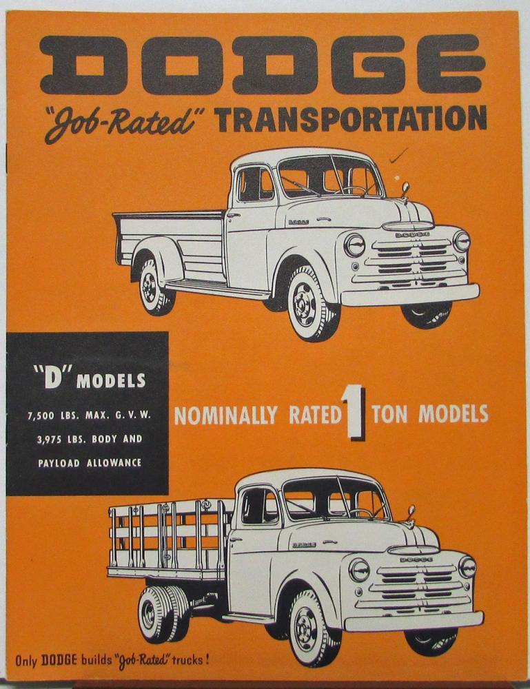 1950 Dodge D Models One Ton Truck Pickup Stake Sales Brochure Original