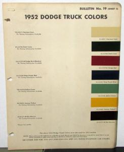 1952 Dodge Truck Paint Chips Duco Dulux Color Bulletin 19 Sheet 3 Original