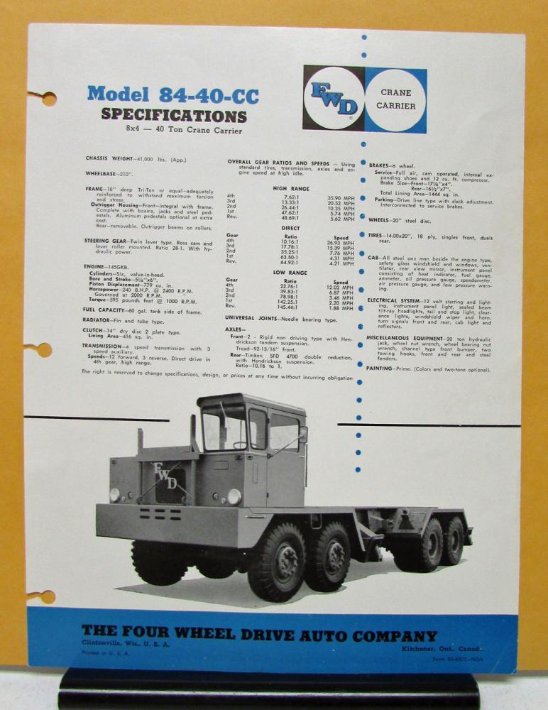 1971 FWD Truck Model 84 40 CC Crane Carrier Specification Sheet