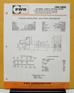 1974 FWD Truck Series CB88 Model CB8818486V53N Specification Sheet