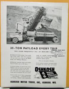 1955 1957 1959 1961 1962 1963 1964 1965 OSHKOSH Truck Model W2206 Sales Brochure