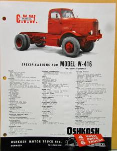 1959 OSHKOSH Truck Model W 416 Specification Sheet