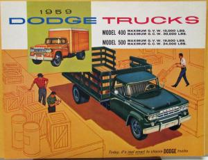1959 Dodge Truck Models 400 500 Stakes Tractors COEs Color Sales Folder Original