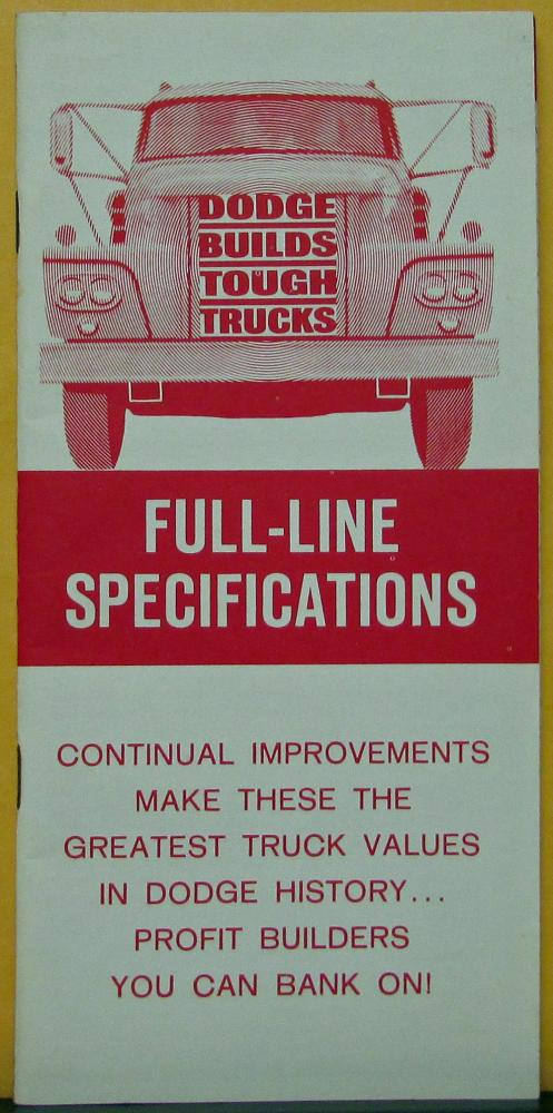 1963 Dodge Truck Complete Full Line Specifications Book Brochure Original