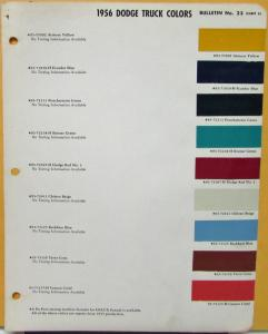 1956 Dodge Truck Dupont Paint Color Chips Original Bulletin 23 Sheet 3