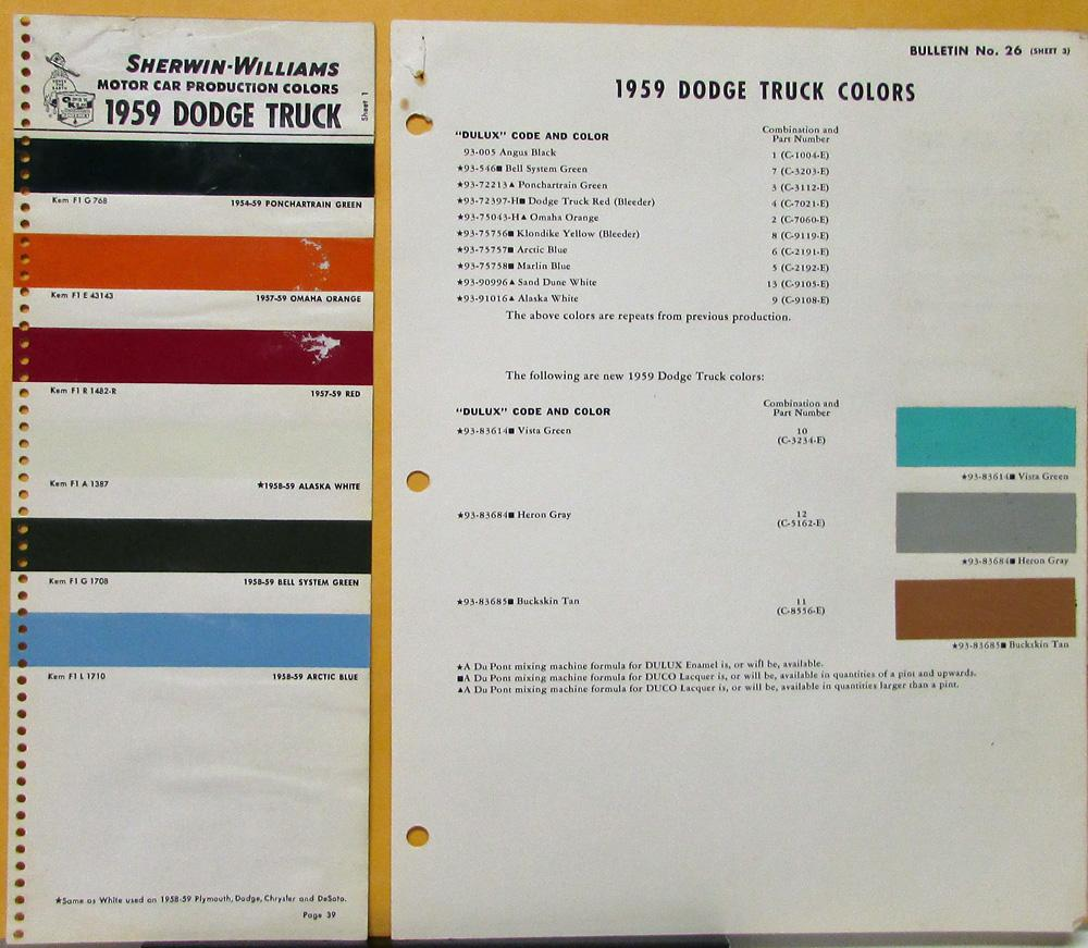 1959 Dodge Truck Dupont Sherman Williams Paint Color Chips Original Three Pages