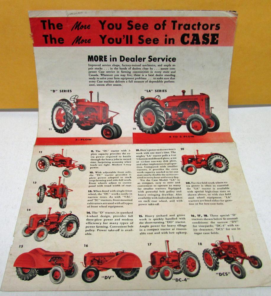 Vintage Case Tractors Dealer Sales Brochure D & LA Series Farm ...