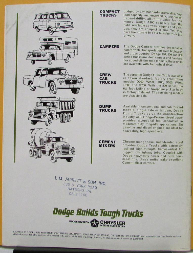 1964 Dodge Van Delivery Truck Models D & C & PC & PD Sales