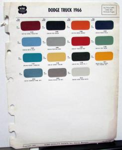 1966 Dodge Truck Acme Color Paint Chips Exterior Original Page