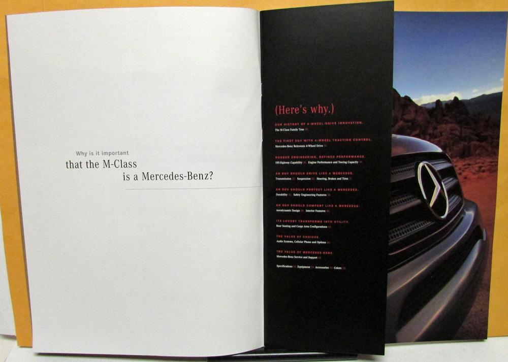 1998 Mercedes Benz Dealer Prestige S Brochure M Cl 4 Wheel Drive Suv