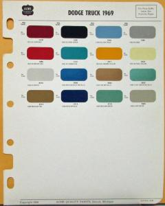 1969 Dodge Truck Acme Color Paint Chips Exterior Original Page