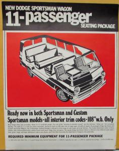 1969 Dodge Sportsman Wagon 11 Passenger Seating Sales Sheet Original