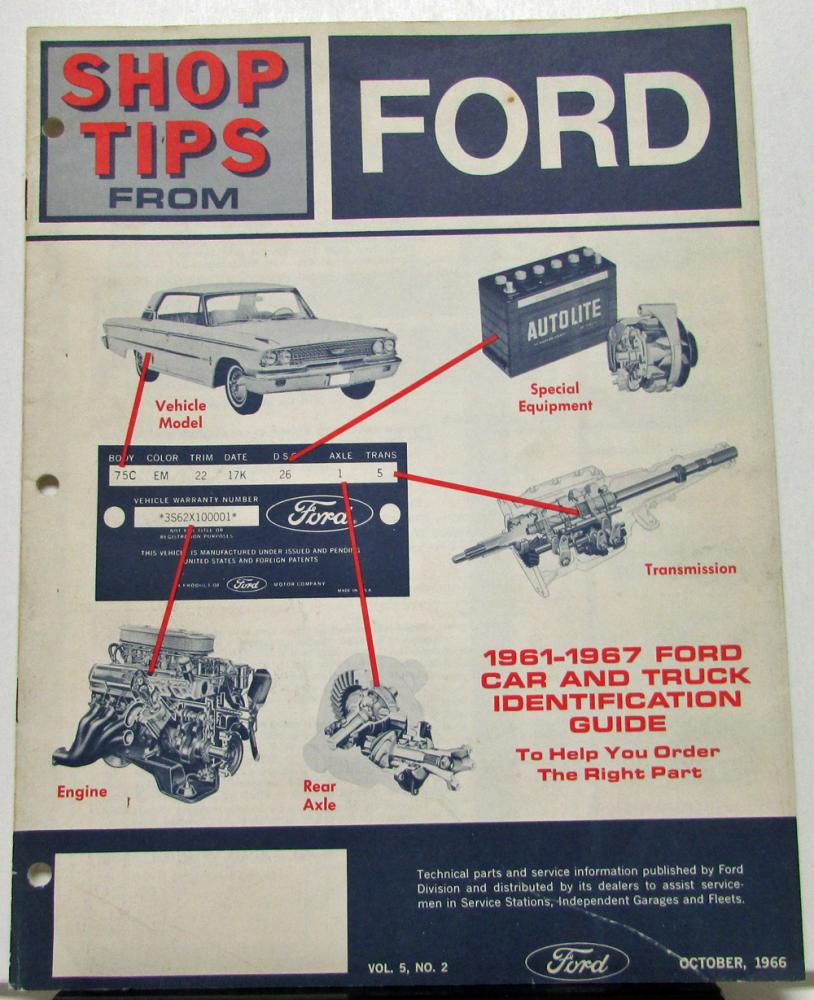 1966 October Ford Shop Tips Vol 5 No 2 1961 Thru 1967 Car And Truck Id Econoline Parts Guide