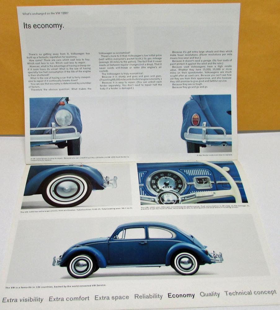 1965 Volkswagen Canadian Dealer Sales Brochure Beetle 1200 VW Rare