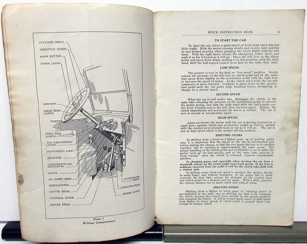 1918 Buick Six Cylinder Models Owners Manual Instruction Book Original 1927 Wiring Diagram