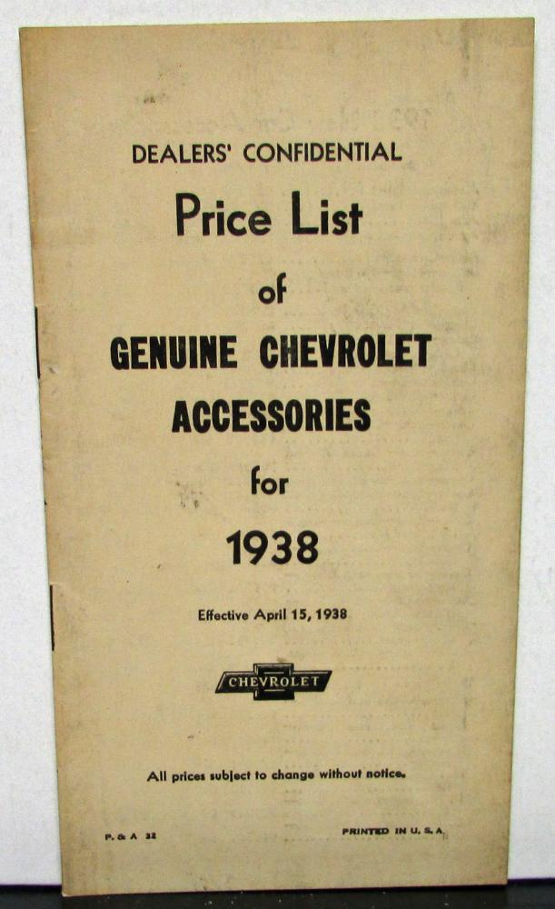 1938 Chevrolet Accessories Part Nos & Price List Dealer Confidential Original