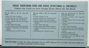 1969 Dodge Tradesman Sportsman Van Vs Chevrolet Dealer Salesman Info Sheet