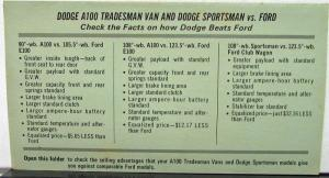 1969 Dodge Tradesman Sportsman Van Vs Ford Dealer Salesman Info Sheet
