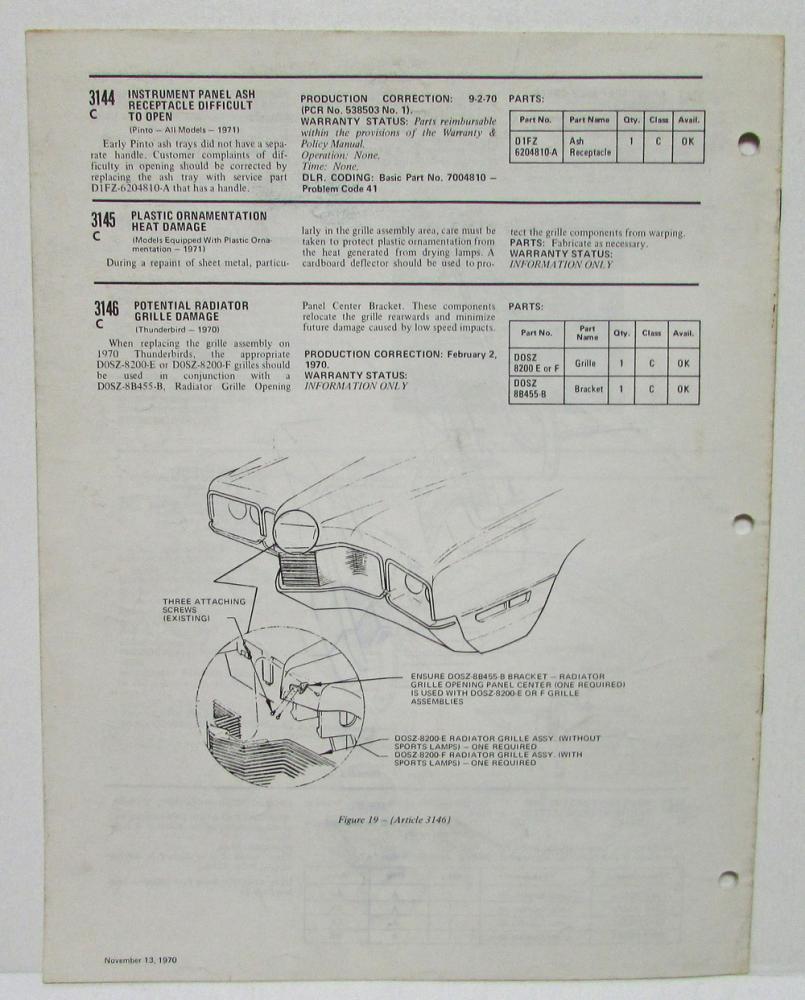 1970 october  u0026 november ford technical service bulletins