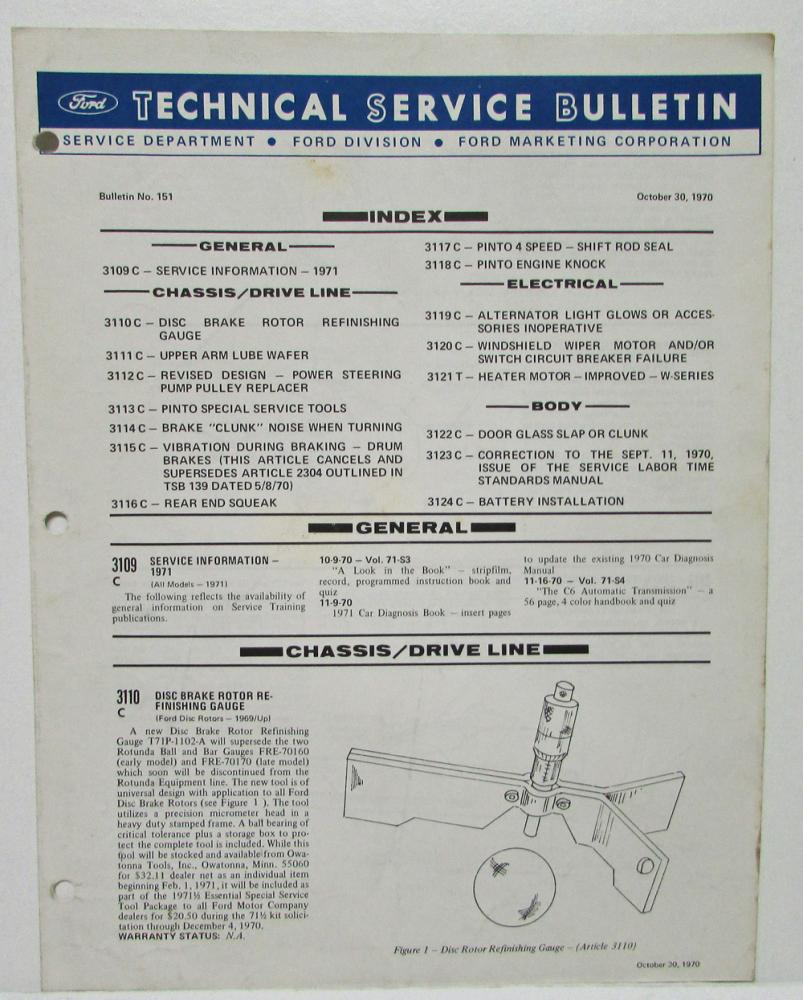 1970 October Amp November Ford Technical Service Bulletins