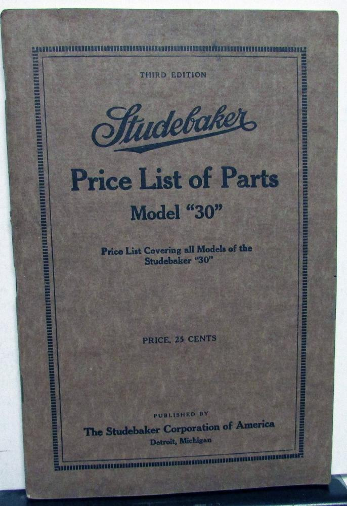 1915 Studebaker Price & Parts List Model A 30 Book Original