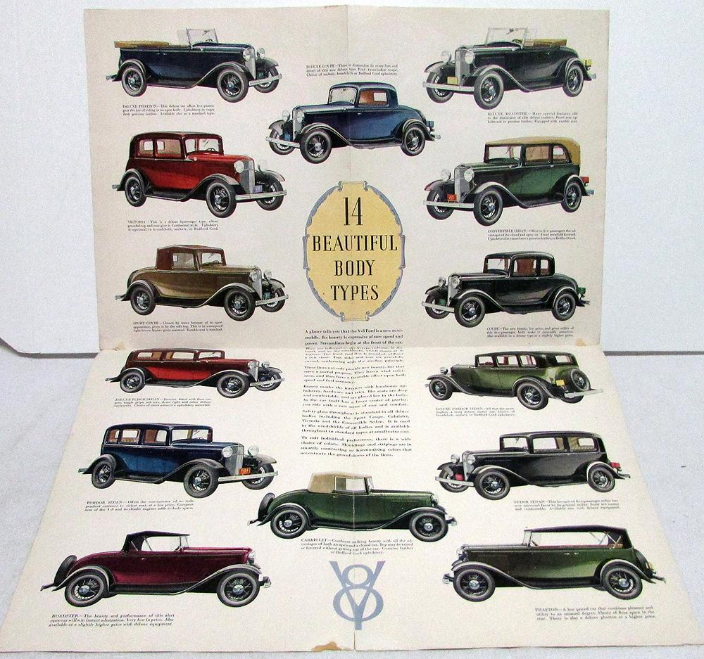 1932 Ford NEW V-8 Cylinder Car with 14 Beautiful Bodies Sales