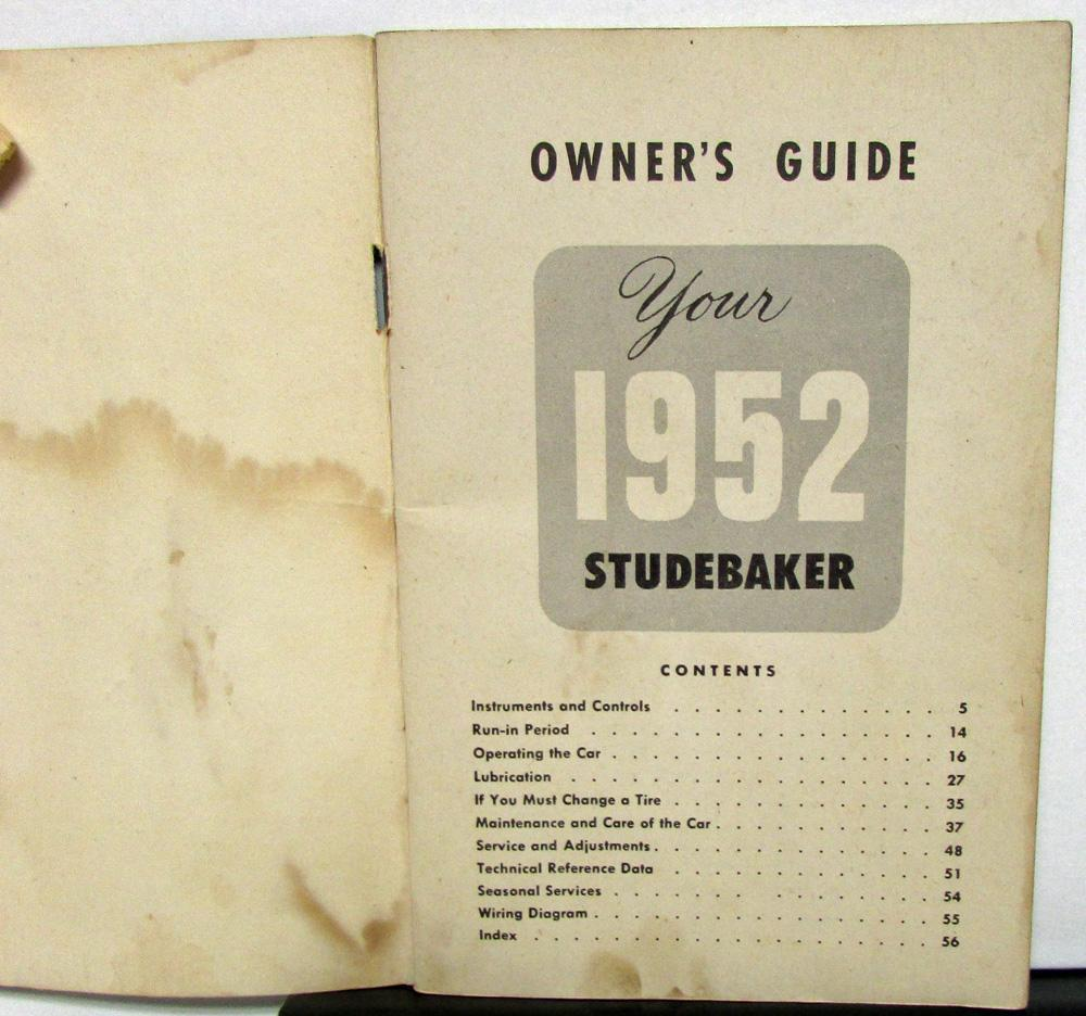 1952 Studebaker Land Cruiser Owners Manual Guide Original Wiring Diagrams