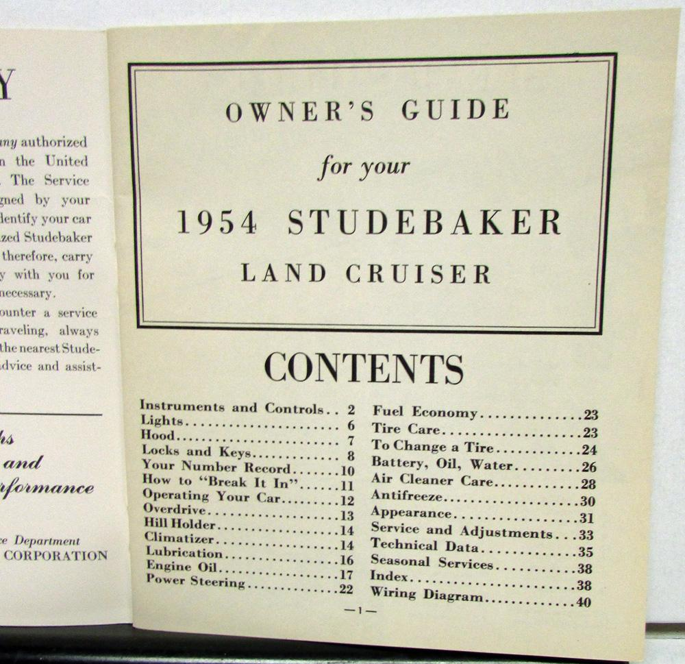 1954 Studebaker V8 Land Cruiser Owners Manual Guide Original Engine Diagrams