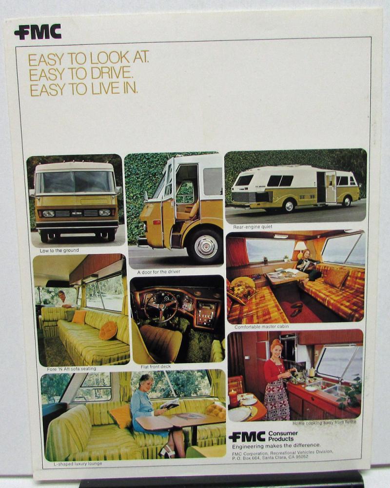 Pair 1974 Motor Home RV Sales Brochures FMC 2900R & Travco 960