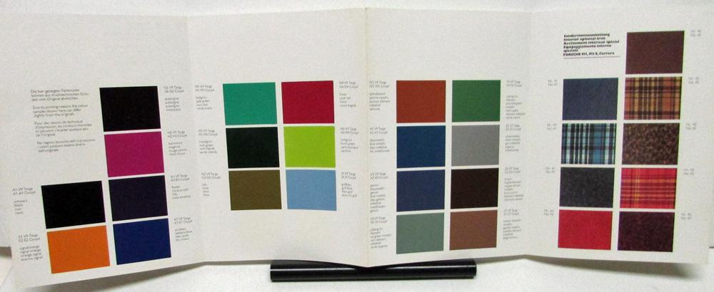 1975 Porsche Dealer Sales Brochure Special Colors Chart