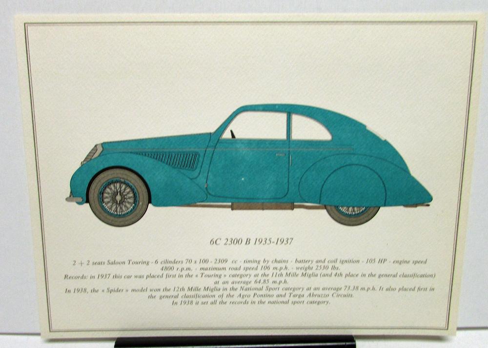 Alfa Romeo Portfolio Color Print Set History of Classic Sports Car Model