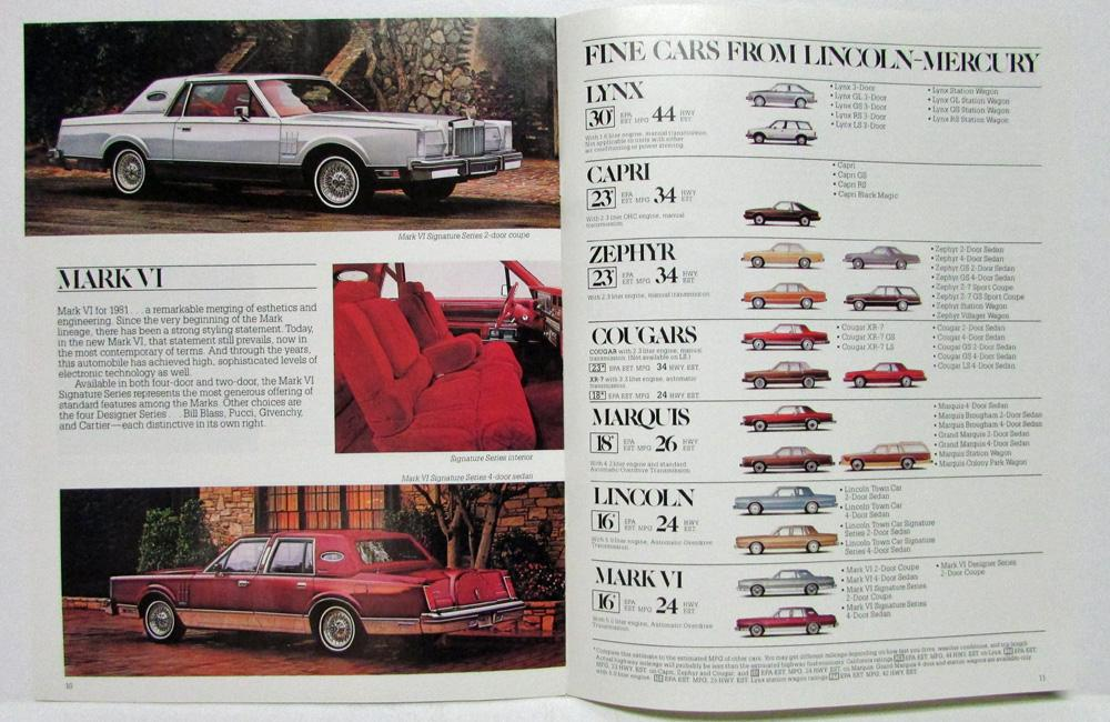 1981 lincoln mercury full line sales brochure lynx zephyr continental mark vi. Black Bedroom Furniture Sets. Home Design Ideas