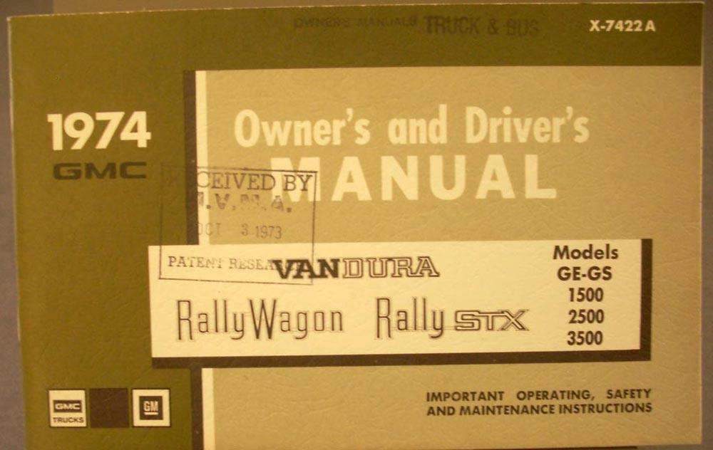 1974 gmc vandura rally wagon stx owners manual ge gs 1500 2500 3500 rh autopaper com 1976 gmc vandura motorhome owners manual 1990 gmc vandura owners manual