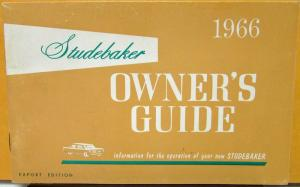 1966 Studebaker Car Export Division CANADIAN Owners Manual Guide Original