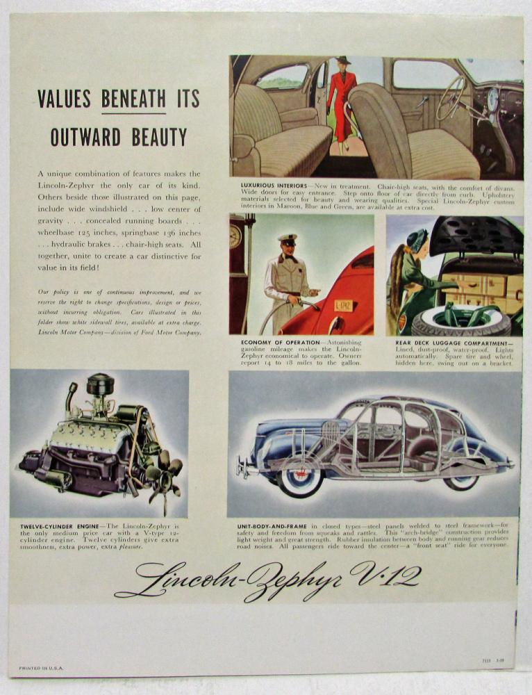 1939 lincoln zephyr v12 sales folder until you drive this twelve