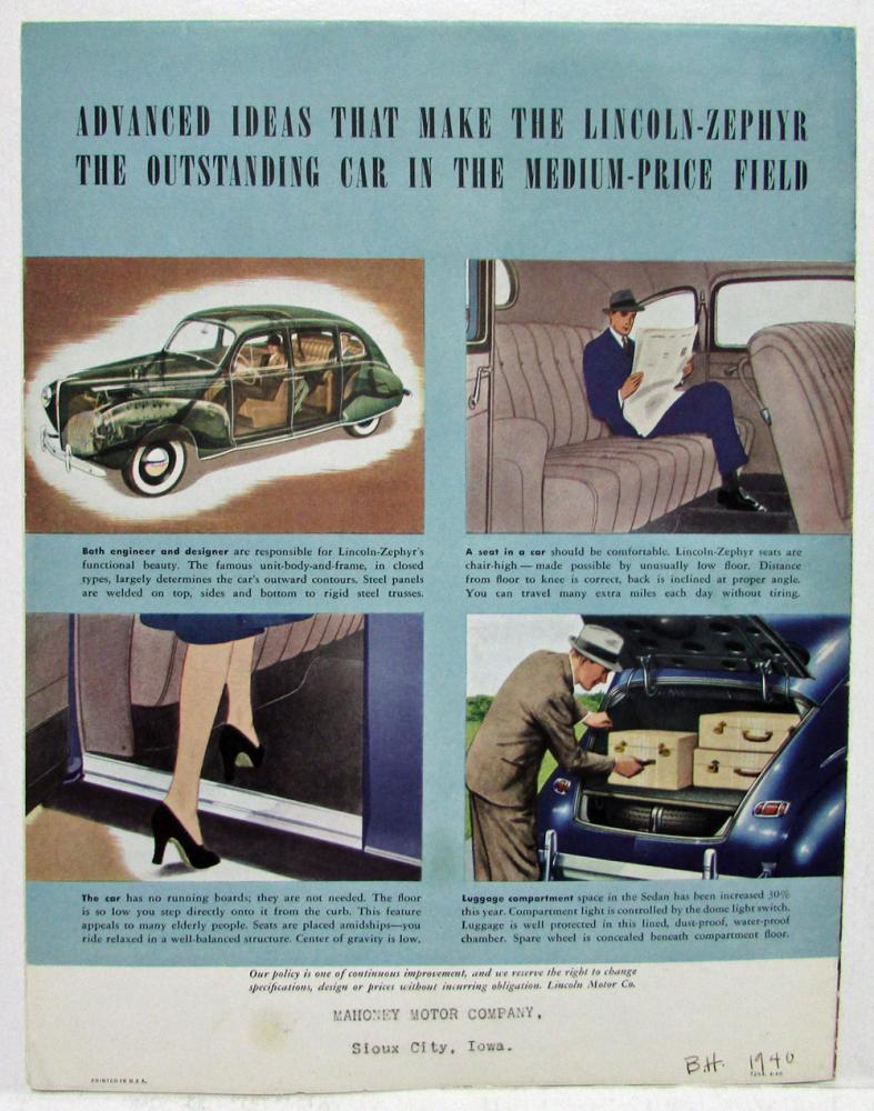 1940 Lincoln Zephyr Sales Folder Sweet Music